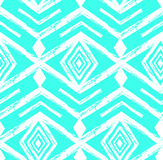 Tiffany blue colored tribal Navajo vector seamless pattern withfreehand texture.Aztec abstract geometric art print Royalty Free Stock Photo