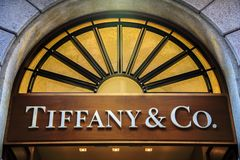 Tiffany & co shop in Milan. Detail of Tiffany & co. shop in Milan. It is an American multinational luxury jewelry and specialty retailer founded at 1837 stock photo
