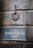 Tiffany & co. sign. Tiffany & Company is an American multinational luxury jewelry and specialty retailer, having headquarters in New York City, United States stock image