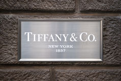 Tiffany & co. sign. TiffanyTiffany & Company is an American multinational luxury jewelry and specialty retailer, having headquarters in New York City, United royalty free stock photography