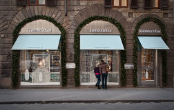 Tiffany & co. store in Florence. Tiffany & co. store in the center of Florence,Italy. This store is in the palace from 17th century .Windows are decorated for Royalty Free Stock Images