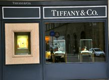 Tiffany fashion shop. Tiffany & Co. is an American jewellery and silverware company stock images