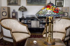 Tiffany lamp. On wooden table royalty free stock images