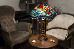 Tiffany lamp. On wooden table stock photography