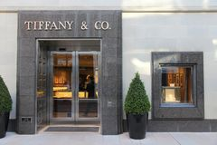 Tiffany. LOS ANGELES, USA - APRIL 5, 2014: Tiffany and Co store in Beverly Hills, Los Angeles. According to Millward Brown Tiffany & Co is among top 10 most stock photography