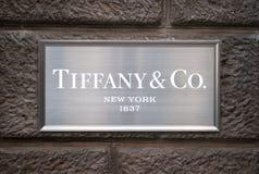 Tiffany & o Co sinal Fotografia de Stock Royalty Free