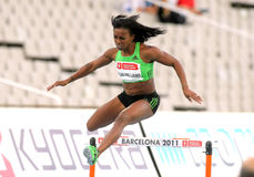 Tiffany Ross-Williams of USA. During of 400m hurdles Event of Barcelona Athletics meeting at the Olympic Stadium on July 22, 2011 in Barcelona, Spain Stock Images
