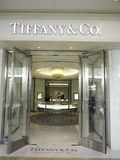 Tiffany shop. Detail of Tiffany shop in Alberta, Canada, It is an American multinational luxury jewelry and specialty retailer founded at 1837 stock images