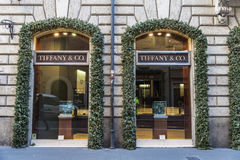 Tiffany shop in Rome, Italy. Rome, Italy - January 1, 2017: Tiffany shop located on Via Condotti in Rome, Italy, one of the most exclusives streets in Europe in stock photo
