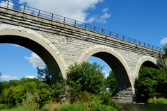Tiffany Stone Arch Train Bridge. The historical Tiffany Stone Arch Bridge in Rock County, Wisconsin on a beautiful summer day Stock Photo