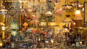Tiffany Style Stained Glass Lamps store in London stock video
