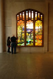 Tiffany Window. Autumn Landscape, at the Metropolitan Museum of Art. The window was designed by Tiffany Studios, the firm of American artist Louis Comfort royalty free stock image