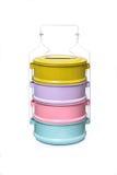 Tiffin colorido, portador do alimento isolado no fundo branco fotografia de stock royalty free
