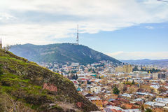 Tiflis-Stadtzentrumvogelperspektive Georgia Stockbilder