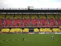TIFO RC obiektyw DELELIS, FRANCJA - złość futbol, STADE FELIX BOLLAERT - obrazy stock