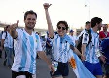 Tifosi dell'Argentina alla coppa del Mondo 2018 della FIFA in Russia fotografia stock libera da diritti