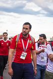 Tifosi deludenti del Marocco dopo perdita Un uomo con una barba fotografia stock