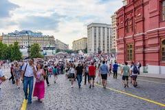Tifosi sul quadrato rosso Fotografia Stock Libera da Diritti
