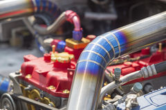 Tig welded seam on stainless steel pipe in racing car Stock Image