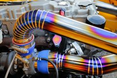 Tig welded seam on stainless steel pipe in race car Stock Images
