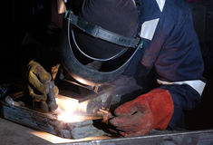 TIG welding of metal frame close up Stock Photo