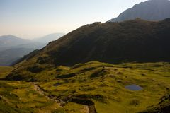Tiganesti Glazial- Seen von den Bucegi-Bergen Stockbilder