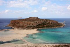Tigani rock Balos bay Stock Images