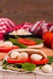 Tigella bröd med spenat och tomater royaltyfria bilder
