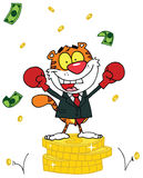 Tiger Еlated With Victory A Stack Of Coins. Cartoon Tiger Еlated With Victory A Stack Of Coins Stock Photography
