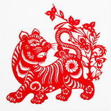 Tiger. This paper-cut shows the tiger, is one of the Chinese Zodiac Stock Images