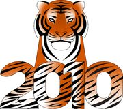 Tiger. Isolated illustration new 2010 year Royalty Free Stock Photo