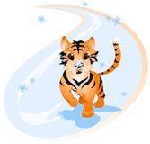 Tiger. Vector illustration of tiger with snowflakes Royalty Free Stock Photo