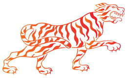 Tiger. Drawing of tiger in a white background Royalty Free Stock Photography