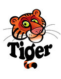 Tiger. The Tiger - funny cartoon head and inscription Royalty Free Stock Image