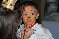 Tiger. Small boy 3 years old with tiger make-up Royalty Free Stock Photos