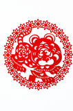 Tiger. This is a picture of the Chinese paper cutting. Paper-cutting is one of the traditional Chinese arts and crafts Royalty Free Stock Photo