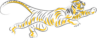 Tiger. Jumping tiger illustrated brush stroke image Stock Photography