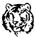 Tiger. Face in black and white stock illustration