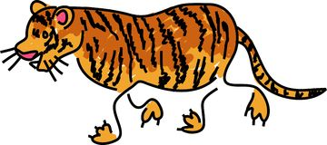 Tiger. Isolated on white drawn in toddler art style Royalty Free Stock Photography