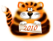 Tiger 2010. Tiger year 2010 greeting card Stock Photo