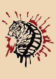 Tiger. Tribal tiger and some blood Royalty Free Stock Photography
