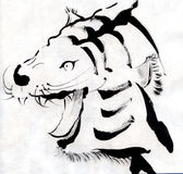Tiger. Hand drawn our in traditional style Royalty Free Stock Photos
