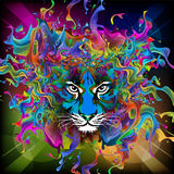 Tiger. Abstract tiger face  color bright background Stock Image