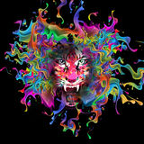 Tiger. Abstract tiger face  color bright background Royalty Free Stock Photography