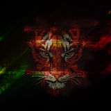 Tiger. Abstract tiger face  color bright background Stock Photo