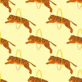 Tiger action wildlife animal danger circus seamless pattern mammal fur wild bengal wildcat character vector illustration Stock Photo
