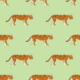 Tiger action wildlife animal danger mammal seamless pattern fur wild bengal wildcat character vector illustration Stock Photo