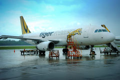 A Tiger airplane prepare take off at Changi airport Royalty Free Stock Photography