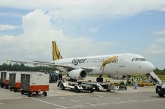 Tiger Airways plane. Parked at the airport for food and fuel resupplies before her next flight stock image