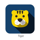 Tiger animal face flat icon Stock Image